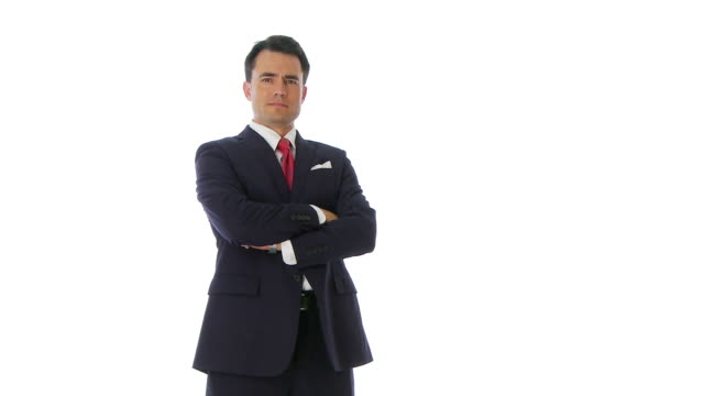 portrait of businessman crossing arms - necktie stock videos & royalty-free footage