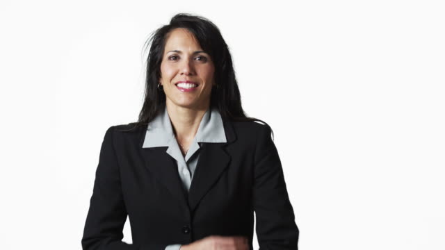 ms portrait of businesswoman against white background / orem, utah, usa - polynesian ethnicity stock videos & royalty-free footage