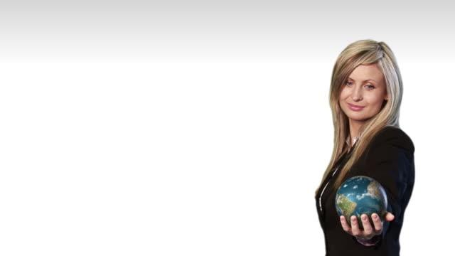 ms, composite, portrait of businesswoman holding rotating globe - menschliche gliedmaßen stock-videos und b-roll-filmmaterial