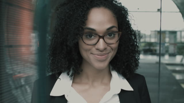 Portrait of businesswoman smiling into camera