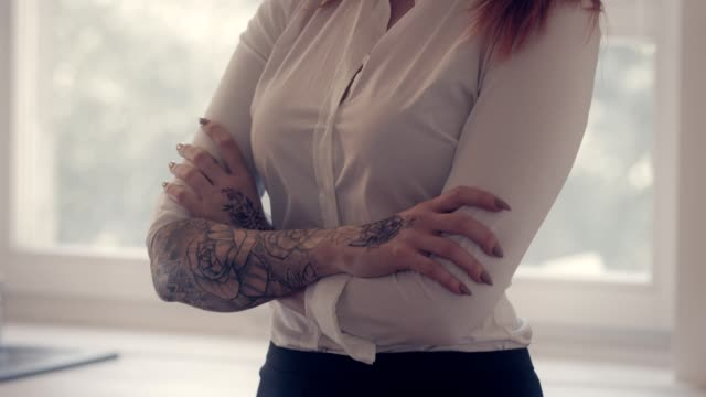 portrait of businesswoman - tattoo stock videos & royalty-free footage