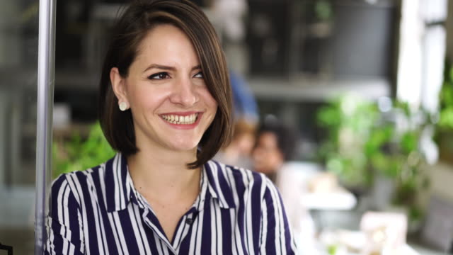 portrait of cheerful business woman - viso naturale video stock e b–roll