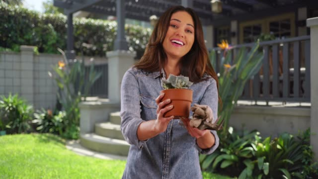 stockvideo's en b-roll-footage met portrait of cheerful latina female standing in backyard, holding out small plant - afwashandschoen