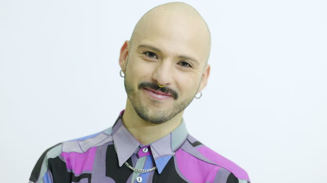 portrait of condiment bald man with piercing - nose piercing stock videos & royalty-free footage