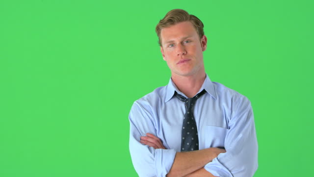 portrait of confident businessman on greenscreen - standing stock videos & royalty-free footage