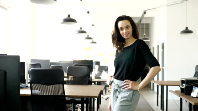 portrait of confident businesswoman at office - pendant light stock videos & royalty-free footage