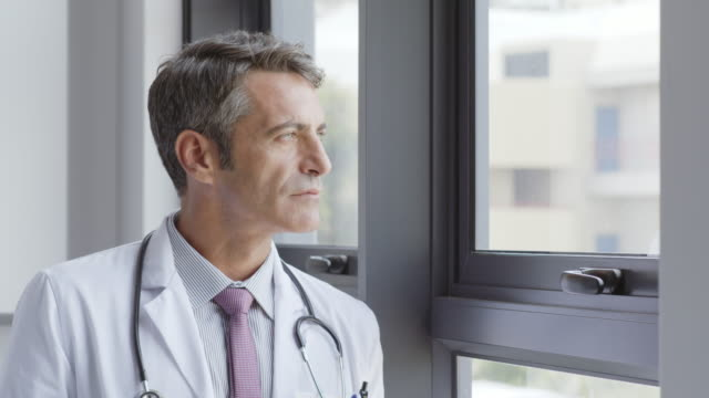 Portrait of confident doctor by window in hospital