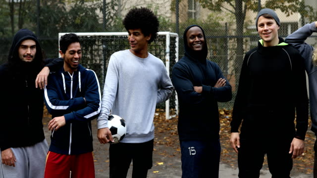 portrait of confident soccer team - only men stock videos & royalty-free footage