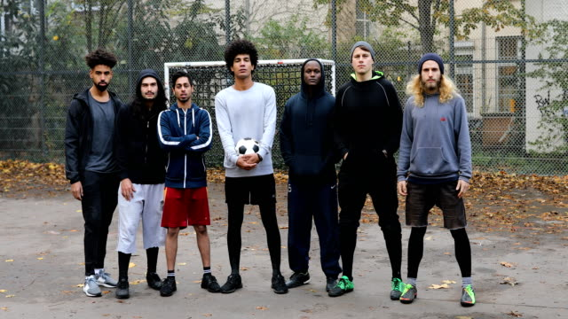portrait of confident soccer team - calcio sport video stock e b–roll