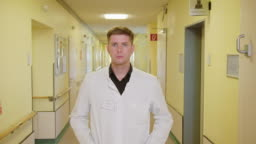 Portrait of confident young male doctor