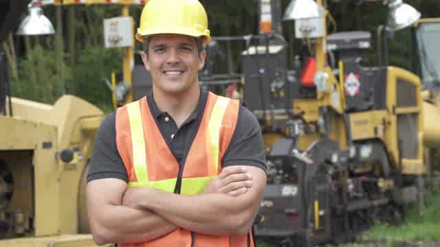 portrait of contractor - roadworks stock videos & royalty-free footage