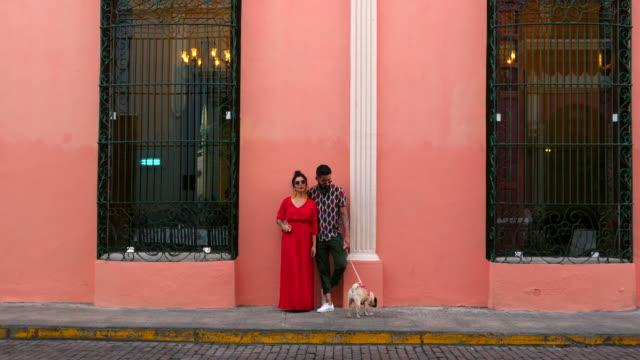 vídeos y material grabado en eventos de stock de ms portrait of couple and dog standing in front of colonial building - pareja de mediana edad