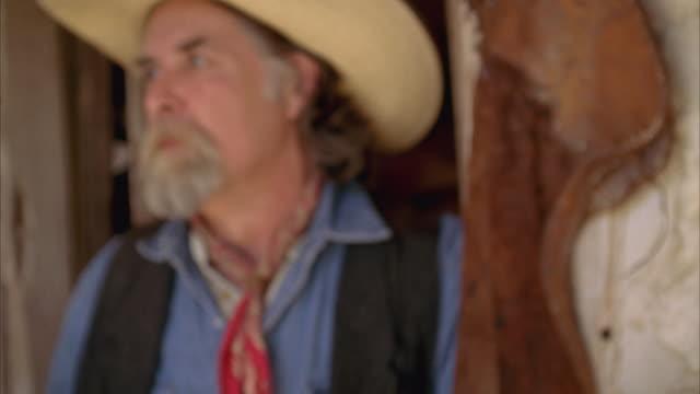 CU Portrait of cowboy / Luckenbach, Texas, USA