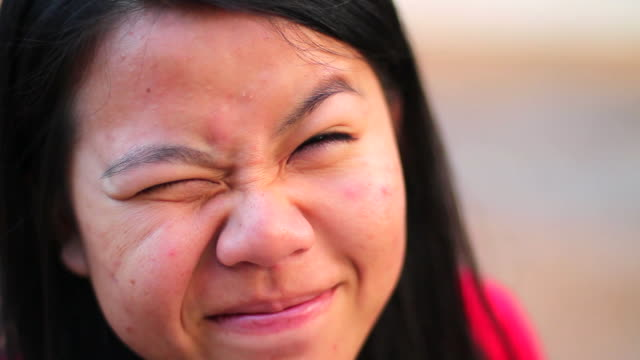portrait of cute asian teen girl smiling happily - human tongue stock videos & royalty-free footage