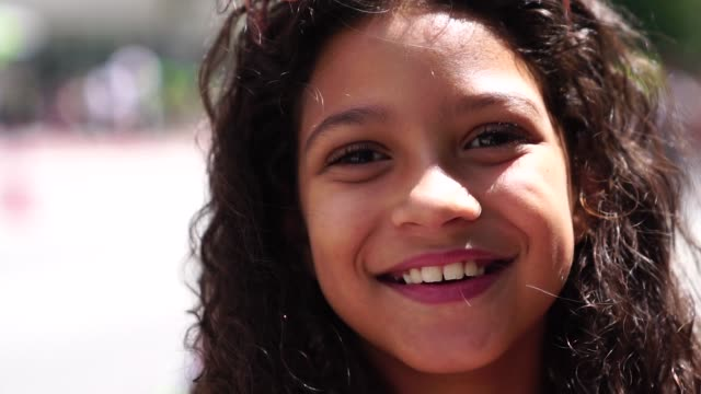 portrait of cute girl - spanish and portuguese ethnicity stock videos & royalty-free footage