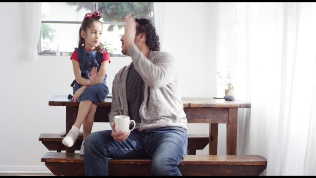 portrait of dad and daughter - high five stock videos & royalty-free footage