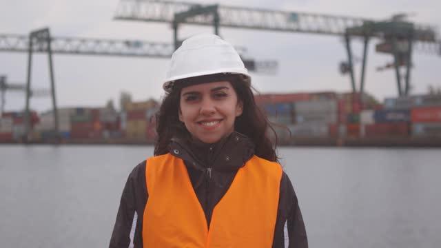 portrait of dock worker woman - females stock videos & royalty-free footage
