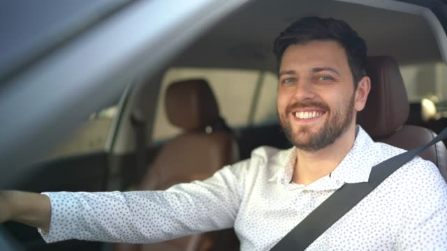 portrait of driver smiling - sitting stock videos & royalty-free footage