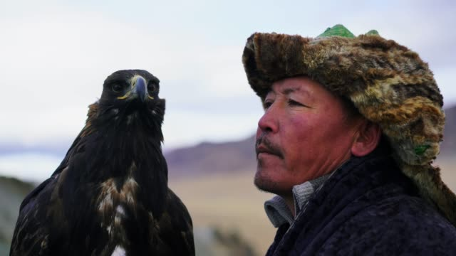 portrait of eagle hunter on horse in desert in mongolia - independent mongolia stock videos & royalty-free footage