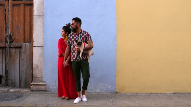ms portrait of embracing couple standing in front of colonial building while walking through town with dog - fashionable stock videos & royalty-free footage