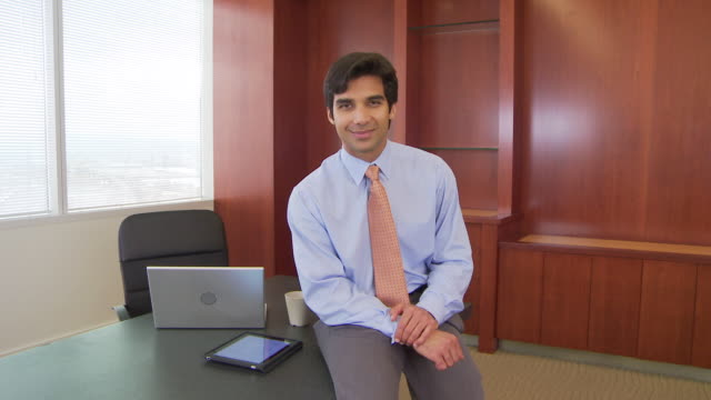 portrait of executive in office - indian subcontinent ethnicity stock videos and b-roll footage