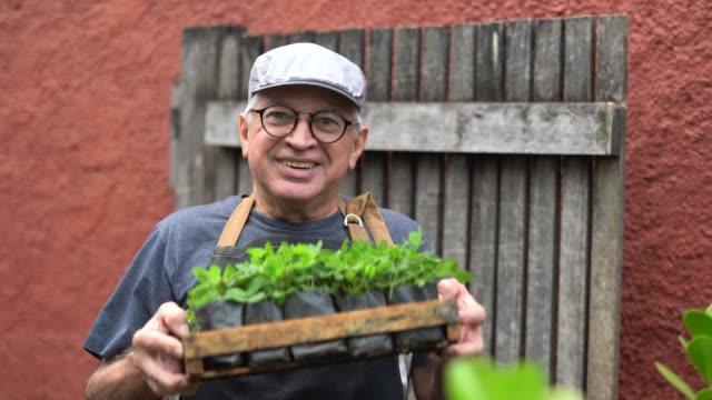 vídeos y material grabado en eventos de stock de retrato de agricultor con las plantas - gratitud