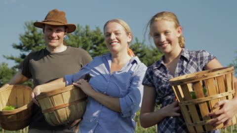 ms portrait of farming family with green peppers / lebonan township, new jersey, usa  - korg bildbanksvideor och videomaterial från bakom kulisserna