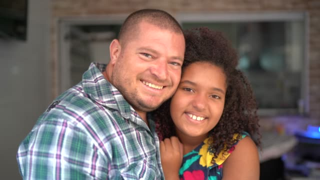 portrait of father and daughter at home - father's day stock videos & royalty-free footage