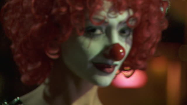cu, focusing, portrait of female clown, los angeles, california, usa - stage make up stock videos and b-roll footage