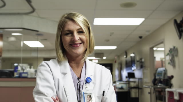MS Portrait of female doctor in clinic / Payson, Utah, USA