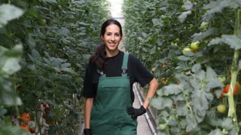 vidéos et rushes de portrait de l'agricultrice permanent à effet de serre - agriculteur