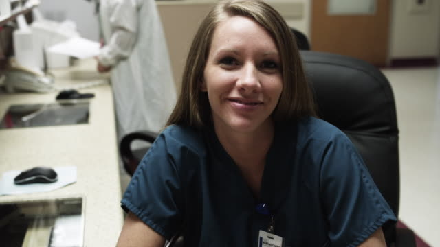 ms portrait of female nurse in office / payson, utah, usa - female nurse stock videos and b-roll footage