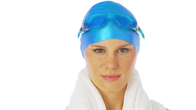 portrait of female swimmer with goggles - swimming cap stock videos and b-roll footage