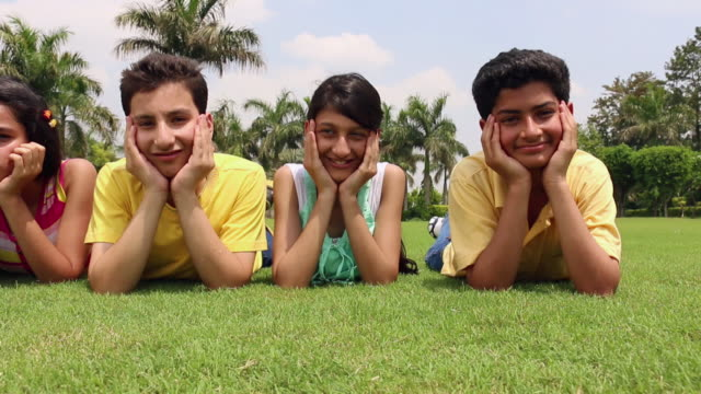 portrait of five teenage boys and girls lying in the park, delhi, india - reclining stock videos and b-roll footage