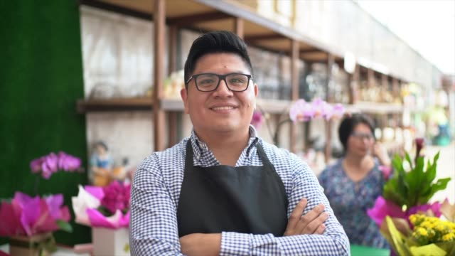 portrait of florist small business flower shop owner - mexican ethnicity stock videos & royalty-free footage