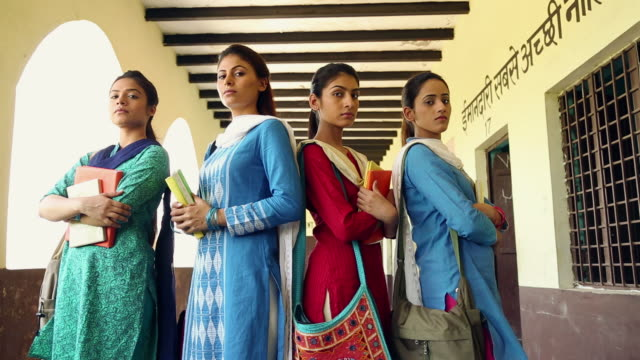 portrait of four young women standing, sonipat, haryana, india - indian politics stock videos & royalty-free footage