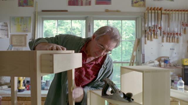 MS, Portrait of furniture maker in workshop, Manchester, Vermont, USA