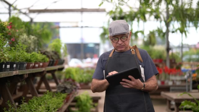 vídeos de stock e filmes b-roll de portrait of garden market employee / owner using digital tablet - brazilian ethnicity