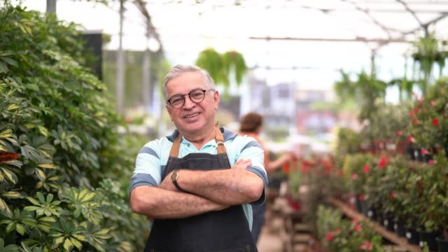 vídeos de stock, filmes e b-roll de retrato de jardim mercado funcionário / proprietário - agricultora