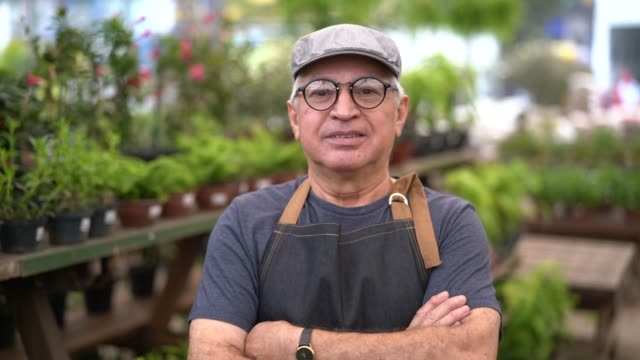 portrait of garden market employee / owner - salesman stock videos & royalty-free footage