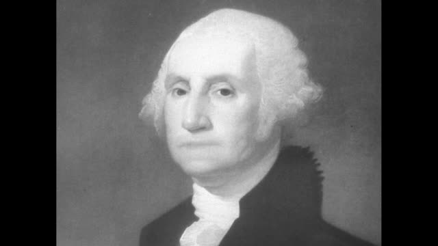 portrait of george washington painted by gilbert stuart / note exact year not known - george washington stock-videos und b-roll-filmmaterial