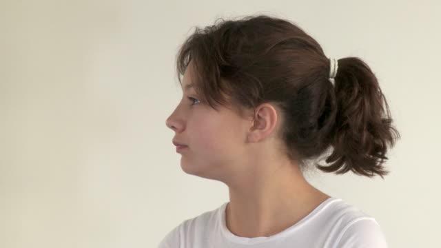 CU, Portrait of girl (12-13) in studio