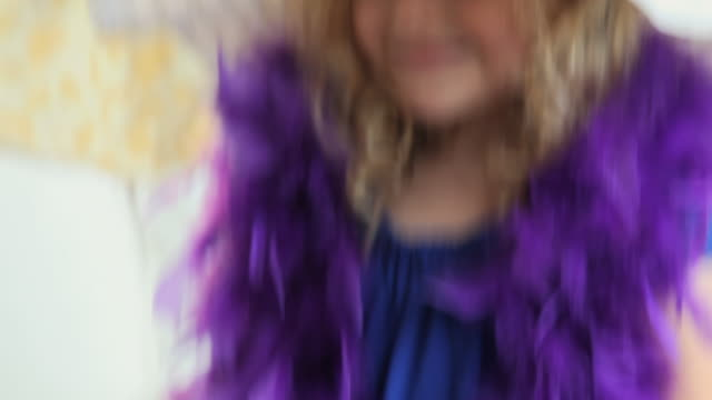 CU TU Portrait of girl (4-5) wearing hat and boa feather / Jersey City, New Jersey, USA