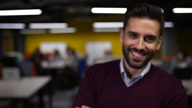 portrait of handsome coworker in modern office - handsome people stock videos & royalty-free footage