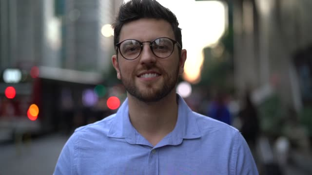 portrait of handsome man in the city - eyewear stock videos & royalty-free footage