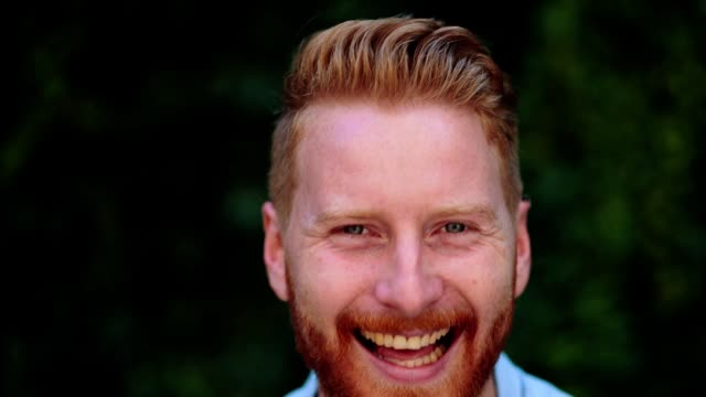 portrait of handsome redhead man smiling - redhead stock videos & royalty-free footage