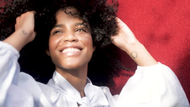 portrait of happy african-american woman, close up - black hair stock videos & royalty-free footage
