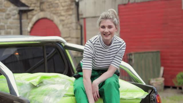 portrait of happy farm girl - role reversal stock videos & royalty-free footage
