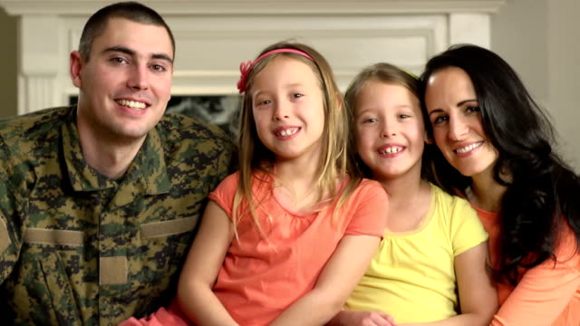 portrait of happy military family - marines military stock videos & royalty-free footage