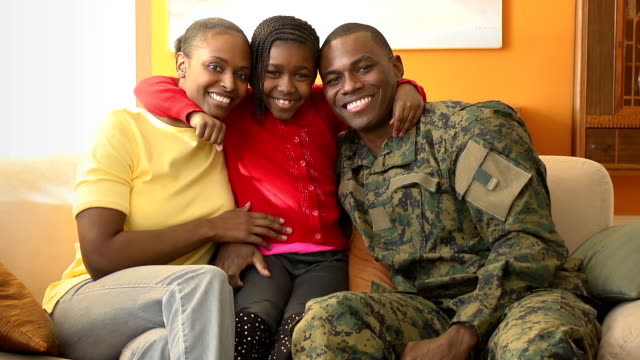portrait of happy military family - army stock videos & royalty-free footage